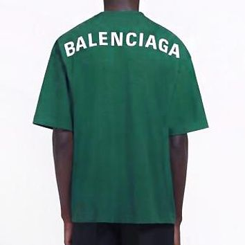 BALENCIAGA Fashion Men Women Casual Classic Letter Print Short Sleeve T-Shirt Top