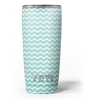 The Teal and White Chevron Pattern - Skin Decal Vinyl Wrap Kit compatible with the Yeti Rambler Cooler Tumbler Cups