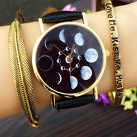 Solar Moon Phase Lunar Eclipse Watch Women Stylish Quartz Watch PU Leather Bracelet Watches For Women relogios feminino hour