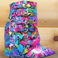 """Nelly HighLife Rainbow Multi Snake Fold-over Boots - 4"""" Wedge High Heel Shoes"""