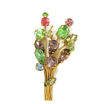 Vintage Colorful Rhinestone Bouquet Brooch Pastels
