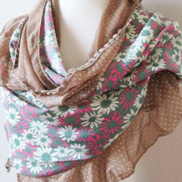 Ruffle Print Floral Scarf, Women Fashion Scarves, Unique Gifts for Girlfriend