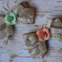 """BABY BOWS, toddler girl, set of 2 4"""" burlap lace bows, light coral peach, mint green, shabby, rustic, flower girl, rose, tute monde, wdw,"""