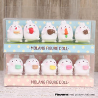 Lovely Cute Molang Rabbit PVC Figure Model Toys Dolls Pendants Kids Toys Gifrs Gifts 5cm 5pcs set 2 Styles