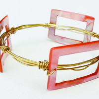 Coral Pink Mother of Pearl Wire Wrapped Bangle - Mother of Pearl Bead Bracelet - Pink Bead Wire Wrapped Bangle - Gold Wire Bangle Bracelet