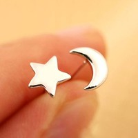 Wicary One Pair Set of Sterling Silver Star and Moon Stud Earring