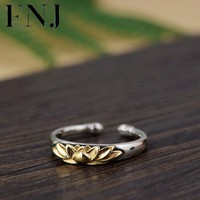 FNJ 925 Silver Lotus Flower Ring Original Pure S925 Sterling Thai Silver Rings for Women Jewelry Girl Adjustable Size