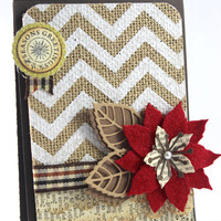 Christmas Handmade Card- Poinsettia Felt Card - Burlap Fabric, Chevron Design, Felt flower, Rustic Christmas Card