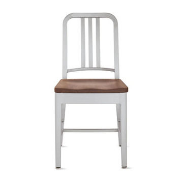 1006 Navy Side Chair - Brushed, Wood Seat, Walnut