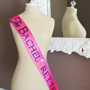 Hot Pink and Black The Bachelorette Sash with Crystal Pin Party Ribbon