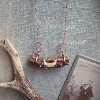korpikuu • crescent moon necklace - witch necklace - antler moon pendant - pagan jewelry - antler necklace