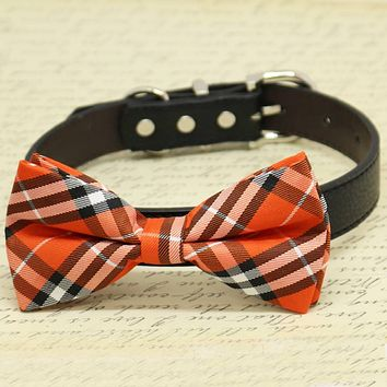 Orange Plaid Dog Bow tie with High Quality Leather Collar, Chic Dog Bow tie