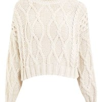Cropped Cable Knit Jumper - Sweaters & Knits - Clothing