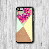 Geometric Flower iPhone 6 Cases, Wooden Color Dye Wood iPhone 5S, Mint Floral iPhone 6 Plus , iPhone 4S Hard Case, Electronics Accessorie