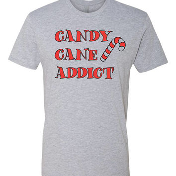 Candy Cane Addict  Christmas tshirt unisex, youth or ladies fit tee