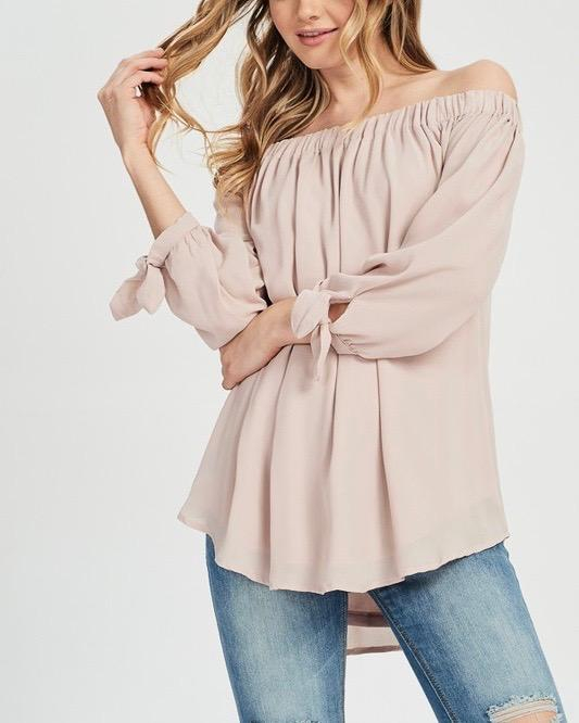 Image of Show Me Off The Shoulder Top in Muted Pink