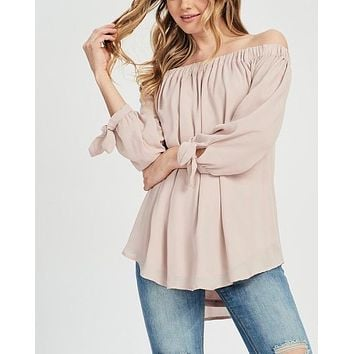 Show Me Off The Shoulder Top in Muted Pink