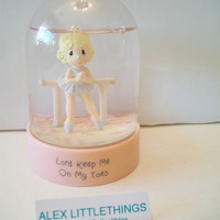Precious Moments Ballerina Snow Dome Globe Waterball 1987 Lord Keep Me On My Toes