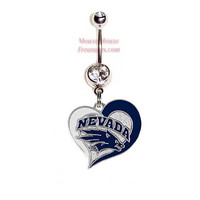 NCAA Nevada Wolf Pack Heart Logo Belly Ring. Authentic Charm on Your Choice of Gem Colors! Quality at a reasonable price!