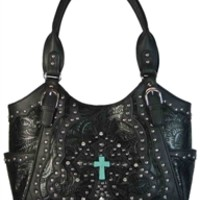 Western Style Handbag Tooled Faux Leather Purse Bucket Bag with Turquoise Cross, Rhinestones and Studs- Available in Choice of Colors