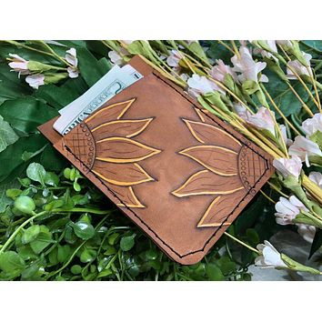 Ready to Ship - Hand Tooled Sunflower Leather Wallet - Leather Card Holder