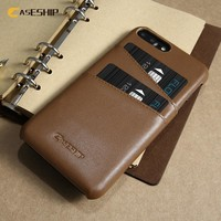 CASESHIP Genuine Leather Case For iPhone 6 6s 7 Plus Phone Case Luxury Card Holder Slots Cover For iPhone 7 7 Plus Phone Cases