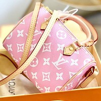 LV New fashion monogram print leather pillow shape shoulder bag crossbody bag handbag Pink