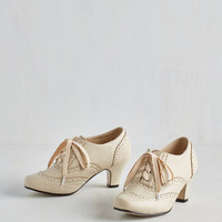 20s Dance Instead of Walking Heel in Cream by ModCloth