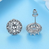 Vintage Milgrain Floral 14K White Gold Plated Halo CZ Earrings for Woman