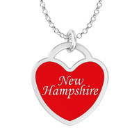 New Hampshire Heart Necklace in Solid Sterling Silver