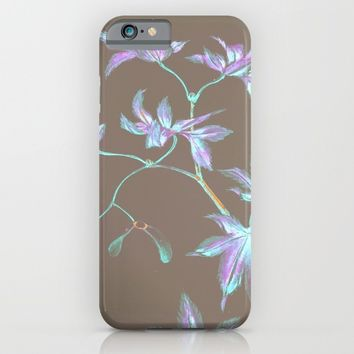 Japanese Flowers :Periwinkle Lavender Mint iPhone & iPod Case by PureVintageLove