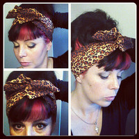 Leopard Brown Black Dolly Bow Headwrap Bandana Hair Bow 1940s 1950s Vintage Style Fabric - Rockabilly - Pin Up - For Women, Teens