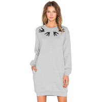 Fashion Plus size Winter Dress Long Sleeve Women Casual Sweater Dresses pocket swallow print Oversize Pullover gray S~XL