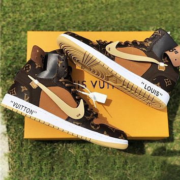 Vogew NIKE LV Shoes Louis Vuitton Sneakers Air Jordan 1 AJ 11 high-top basketball shoes PU Coffee Print