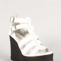 Bamboo Leatherette Caged Double Buckle Platform Wedge