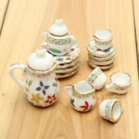 1 Set 15pcs Floral Print Miniature Furniture Dining Porcelain Mini Tea Set
