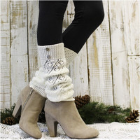 SIMPLY DIVINE crochet leg warmers - cream