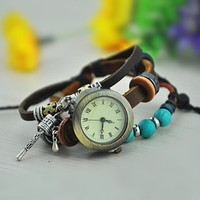 MagicPieces Handmade Leather Belt Friendship Bracelet Watch for Women -Turquoise Beads