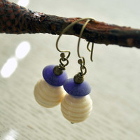 Purple Honeycomb Earrings, Lampwork Glass Dangle, Cream, Ridged