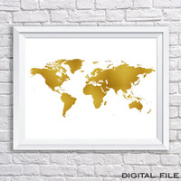 gold foil signgold foil map art world map poster world map gold foil world map gold print digital map gold party decor printable wall art