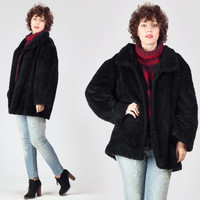 70s Black Faux Fur Coat / Faux Astrakhan Open Fit Jacket / Oversized Plain Simple Large L Coat