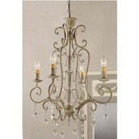 """Shabby Vintage Metal Crystal CHANDELIER electric antique FRENCH COUNTRY Chic 42"""" NEW"""