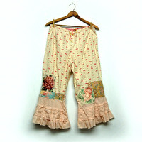 Boho Cotton Pants, Bloomers, Pantaloon, Victorian, Edwardian, Cottage Magnolia Chic, Funky Pearl, Eco Earth Friendly, Upcycled Clothing