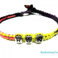 Run Hemp Bracelet, Pink, Purple, Yellow, Black Macrame Hemp Jewelry