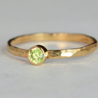 Classic Solid 14k Rose Gold Peridot Ring