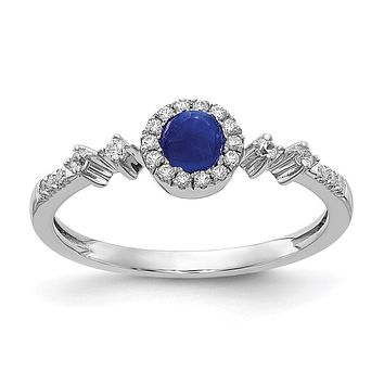 14k White Gold Real Diamond and Cabochon Sapphire Halo Ring
