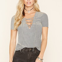 Lace-Up Micro-Striped Top