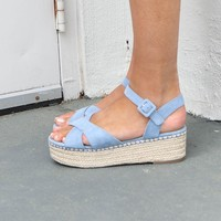 Cloud Nine Blue Suede Platform Espadrilles