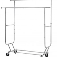 Commercial Grade Collapsible Clothing Rolling Double Garment Rack Hanger R02D