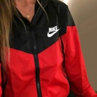 Nike Fashion Women Men Long Sleeve Hoodie Zipper Cardigan Print Sweatshirt Jacket Coat Windbreaker Sportswear Black Red I
